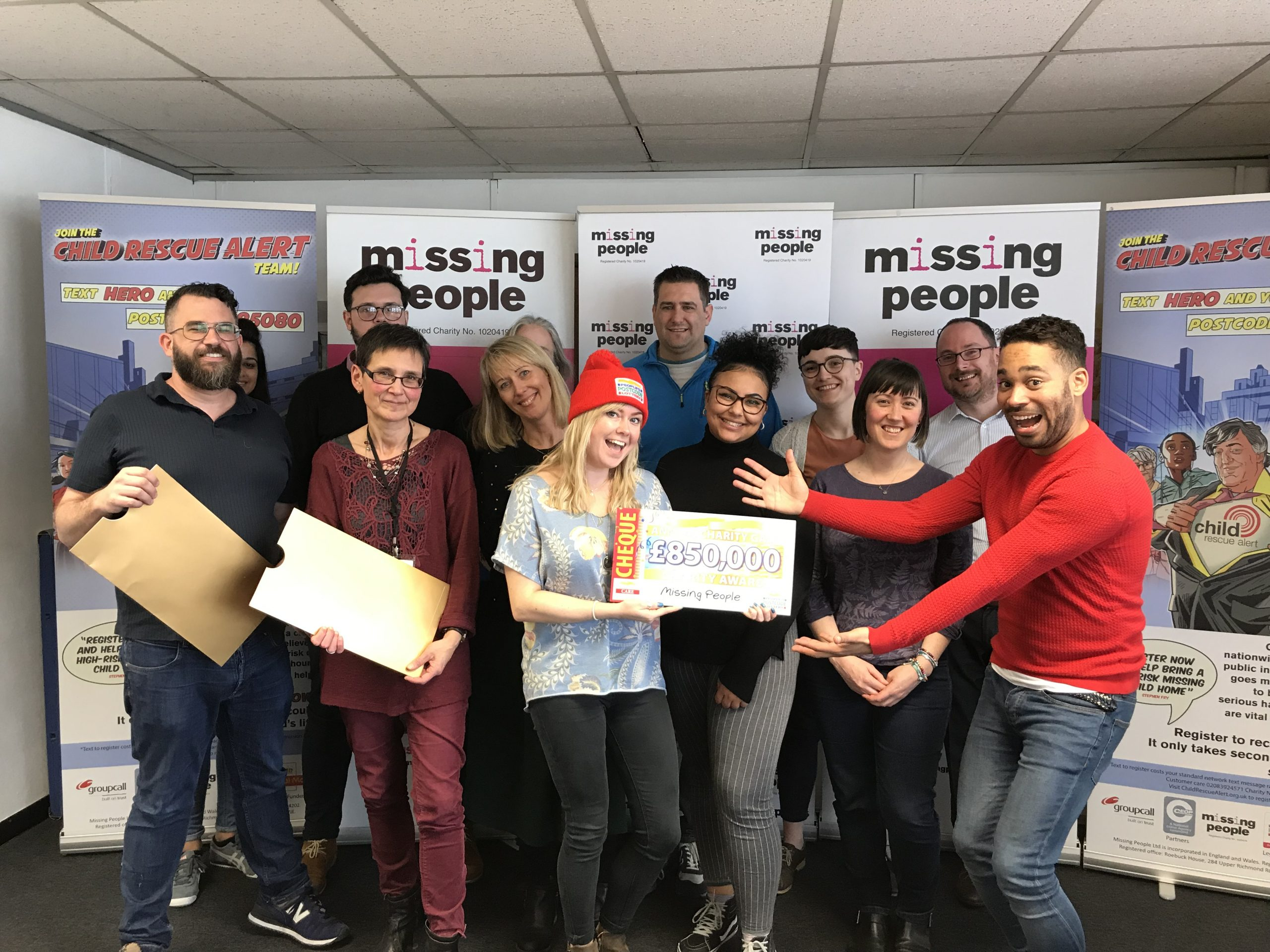 Missing People celebrating receiving new funding from People's Postcode Lottery at their office in Richmond, London
