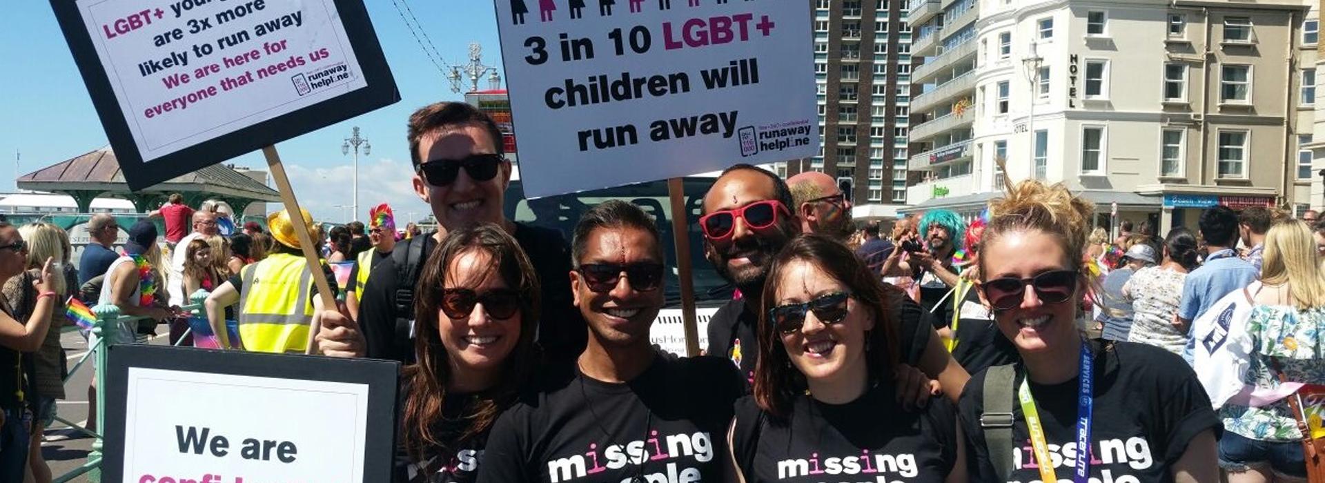 Missing People volunteers at LGBT event